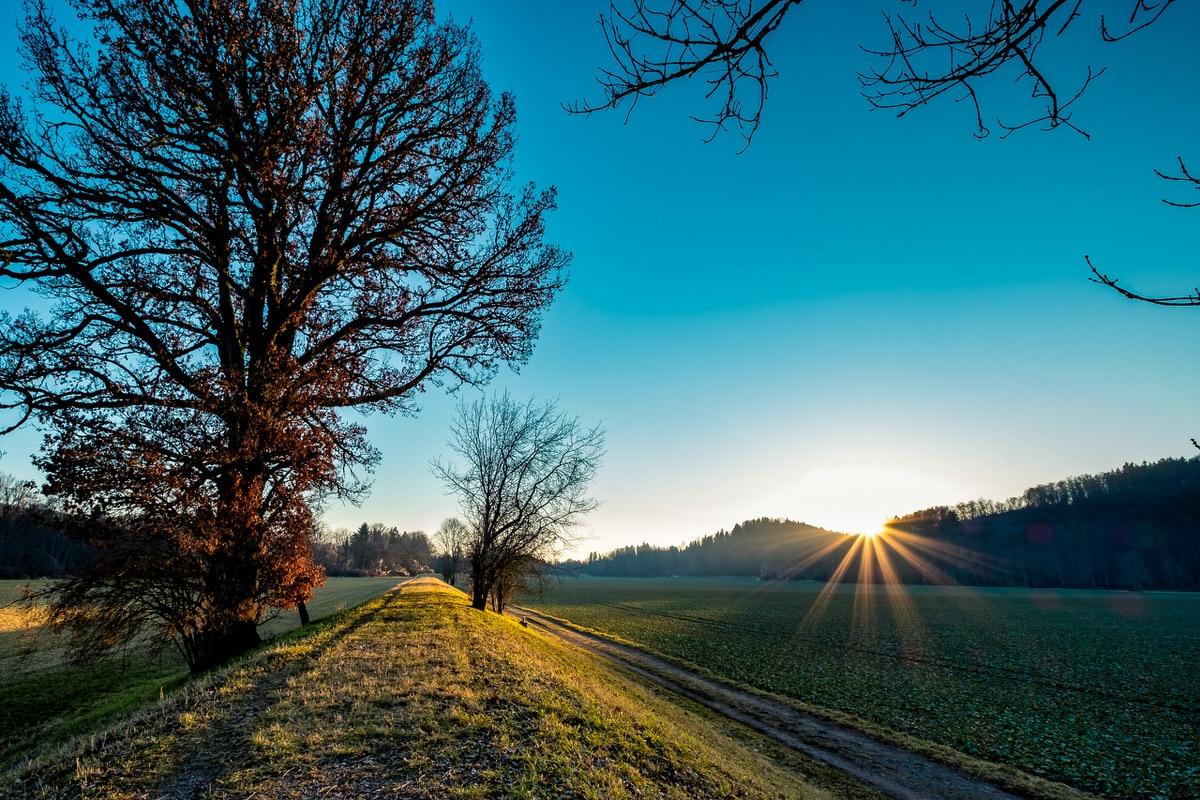 Landschaft mit Sonnenuntergang und Blendenstern